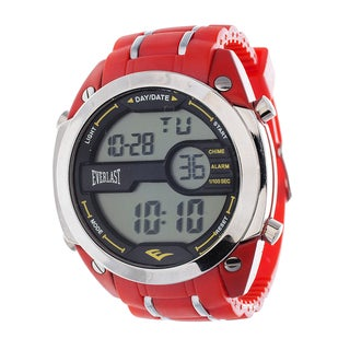 Everlast Diver Jumbo Men's Digital Red Rubber Strap Watch