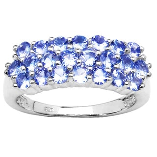 Malaika 10k White Gold 3-row Tanzanite Ring