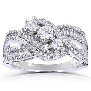 Annello 14k White Gold 3/4ct TDW Round and Baguette Diamond Ring (H-I, I1-I2)