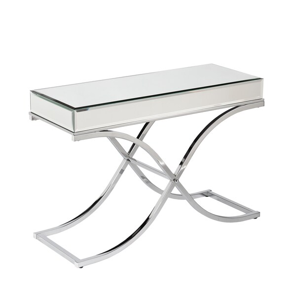 Upton home annabelle chrome mirrored sofa console table 16986642 shopping - Mirrored console table overstock ...