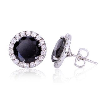 Annello 14k White Gold 4 5/8ct TDW Black and White Halo Diamond Earrings (G-H, I2)