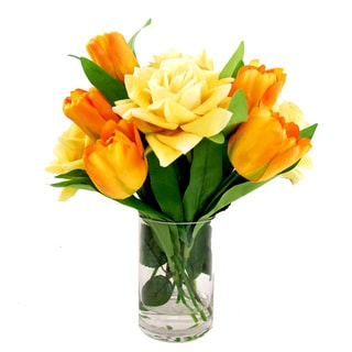 Orange Tulip and Yellow Rose Floral Arrangement in Glass Vase Accented with Acrylic Water