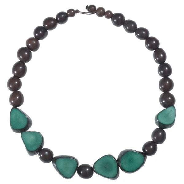 Faire Collection Gemma Tagua Necklace in Hunter Green (Ecuador)