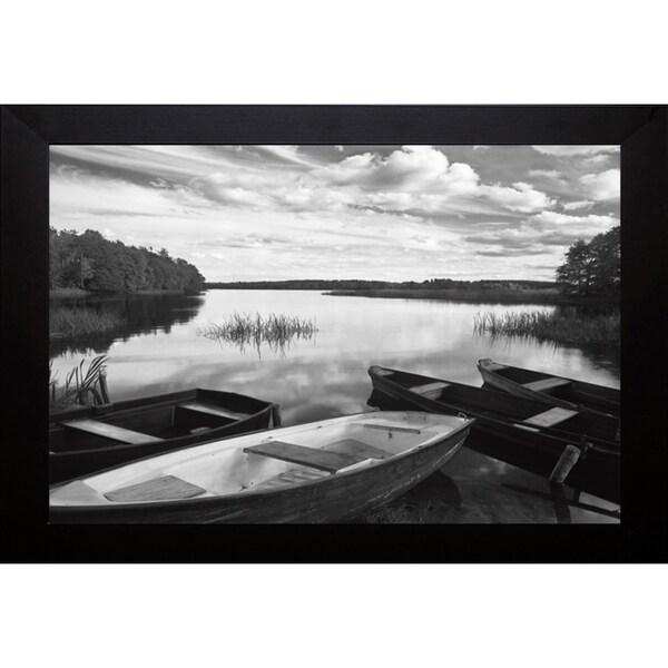 Monte Nagler 'Four Boats at Sunset' Framed Artwork