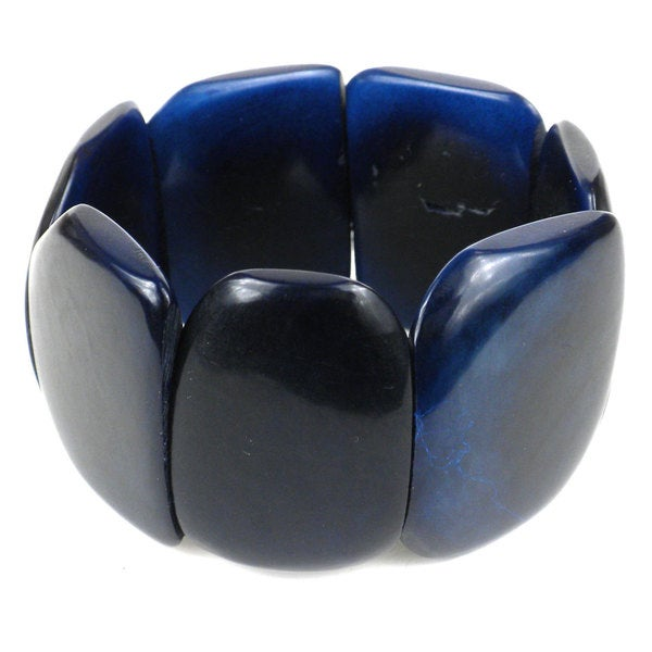 Faire Collection Polished Tagua Nut Bracelet in Navy Blue (Ecuador)