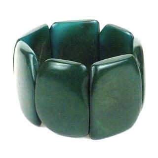 Faire Collection Polished Tagua Nut Bracelet in Hunter Green (Ecuador)