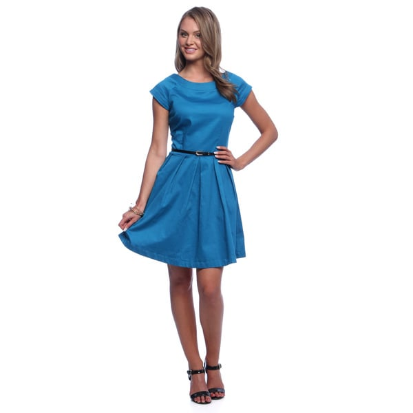 Amelia Women's Fit and Flair Belted Mykonos Blue Cotton Satin Dress - Size 2 (As Is Item)