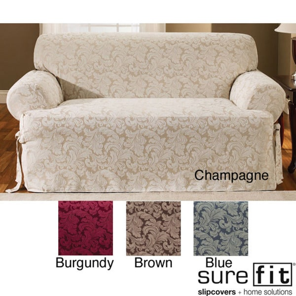 Scroll T-cushion Champagne Sofa Slipcover (As Is Item)