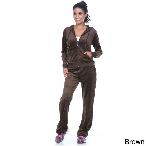 White Mark Women's Velour Two-piece Brown Lounge Suit - Medium (As Is Item)