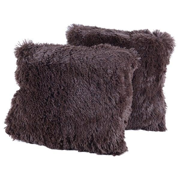 Chocolate Plush Throw Pillows Set of 2 (As Is Item) 14804606