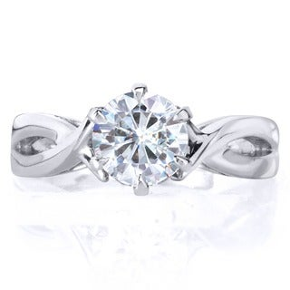 Annello 14k White Gold 1ct 6-prong Round Moissanite Solitaire Engagement Ring