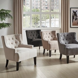 TRIBECCA HOME Tess Wingback Tufted Linen Upholstered Club Chair