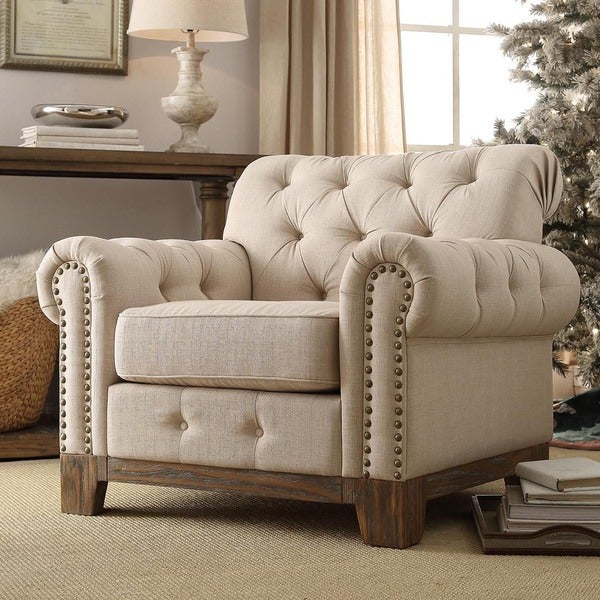 INSPIRE Q Greenwich Tufted Scroll Arm Nailhead Beige Chesterfield Chair