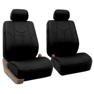 FH Group Black Rome PU Leathe Front Bucket Seat Covers (Set of 2)