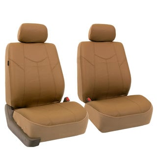 FH Group Beige Rome PU Leathe Front Bucket Seat Covers (Set of 2)