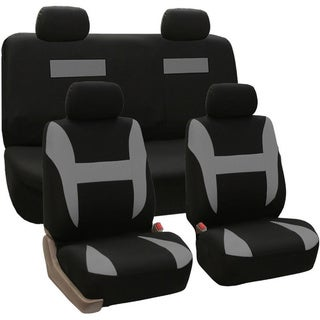 FH Group Grey and Black Combo Pack Pique Fabric Auto Seat Covers (Full Set)