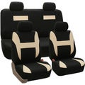 FH Group Beige and Black Combo Pack Pique Fabric Auto Seat Covers (Full Set)