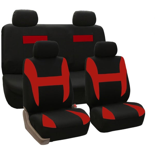 FH Group Red and Black Combo Pack Pique Fabric Auto Seat Covers (Full Set)