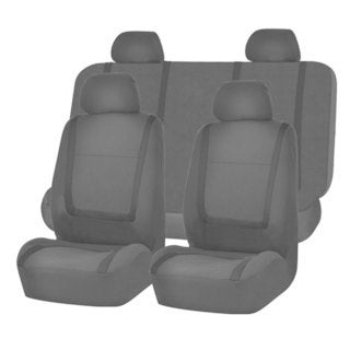 FH Group Black Unique Flat Cloth Auto Seat Covers (Full Set)