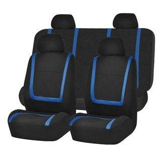 FH Group Blue Black Unique Flat Cloth Auto Seat Covers (Full Set)