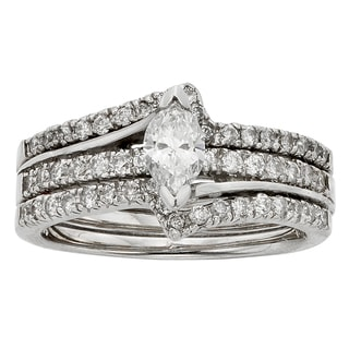 Sofia 14k White Gold 1ct TDW Marquise Diamond Bridal Set (H-I, I1-I2)