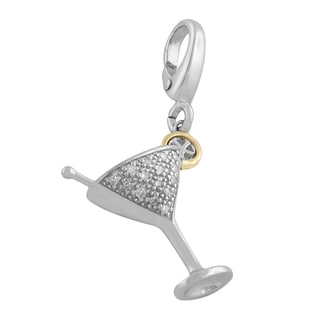 Sterling Silver 14k Yellow Gold Martini Glass Charm