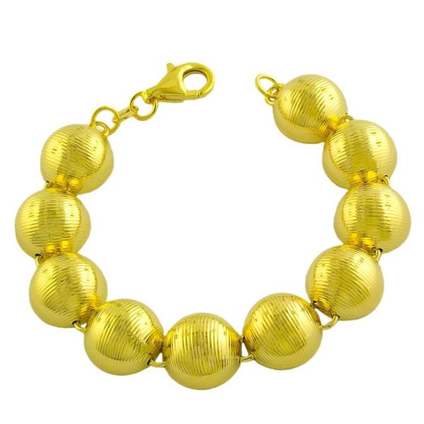 Goldkist 18k Yellow Gold over Silver Ribbed Bead Bracelet