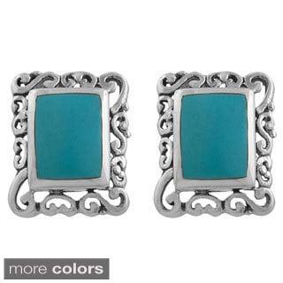 Sterling Silver Rectangle Gemstone Filigree Post Earrings