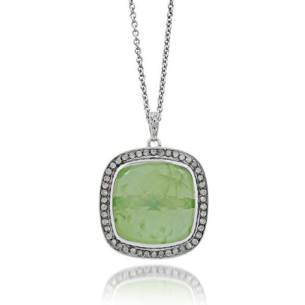 Sterling Silver Green Quartz 1/2ct TDW Diamond Square Necklace (H-I, I1-I2)