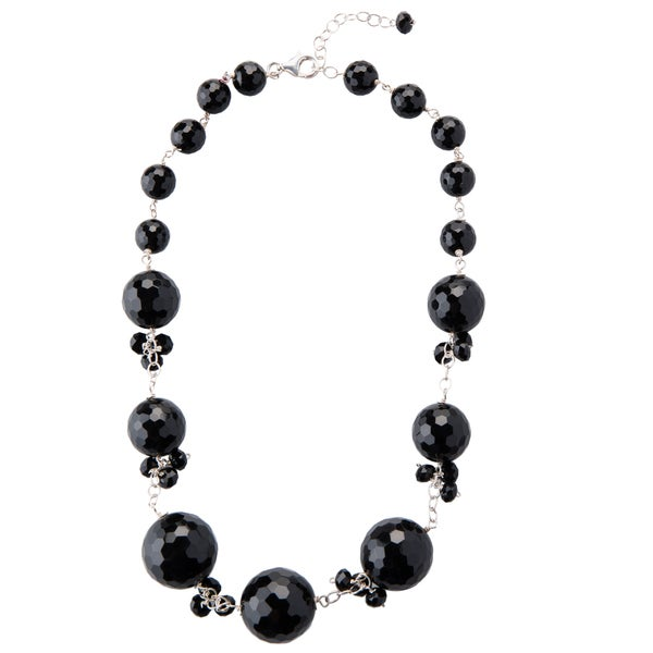 Sterling Silver Faceted Black Onyx Star Struck Necklace