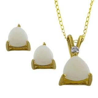 Fremada 10k Gold Trillion Opal Pendant and Earrings Set