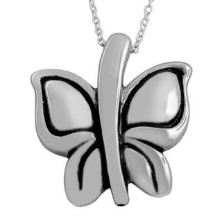 Fremada Rhodium Plated Sterling Silver Electroform Butterfly Necklace