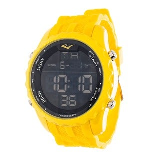 Everlast Jumbo Men's Digital Sport LED Yellow Silicone Strap Watch