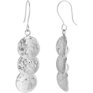 Kele & Co 925 Sterling Silver Beautiful 3-disk Hammered Earrings