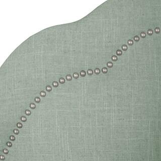 Skyline Furniture Arch Inset Nail Button Headboard in Linen Swedish Blue
