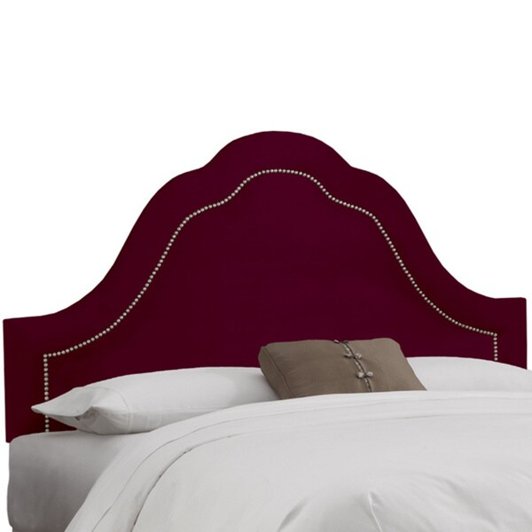 Made to Order Burgundy Brass Nail Trim High Arch Headboard