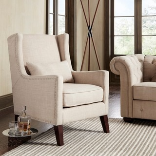 INSPIRE Q Henry Wingback Nailhead Upholstered Club Chair with Pillow