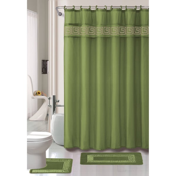 Greek Key 15-piece Bathroom Rug Shower Set