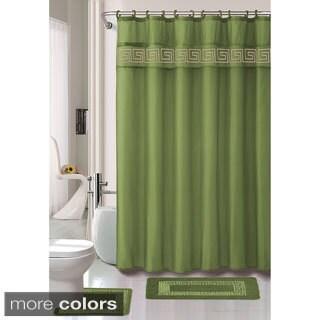 Greek Key 15-piece Bathroom Rug Shower Set