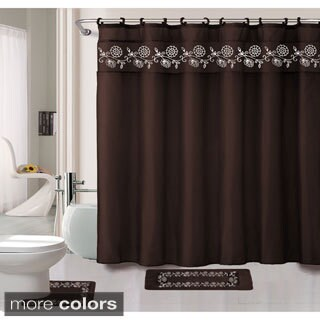 Leaves 15-piece Bathroom Rug Shower Set