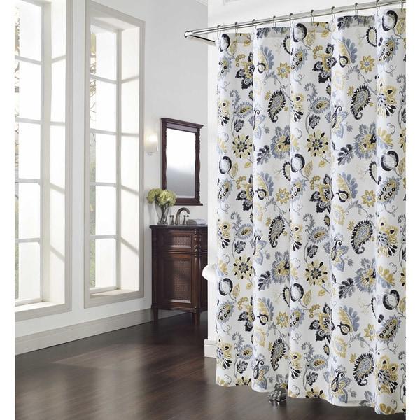 Navy Paisley Curtains Bijoux Paisley Shower Curtain