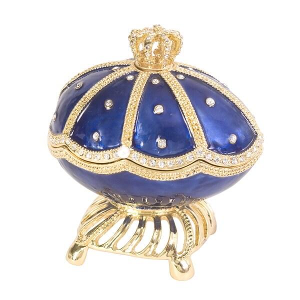 "Blue Enamel Swarovski Crystal ""Swan Lake"" Faberge Egg"