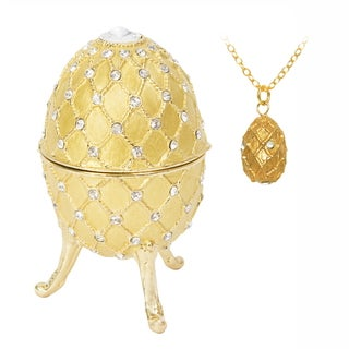 "Yellow Enamel Swarovski Crystal Musical ""Swan Lake"" Faberge Musical Egg"