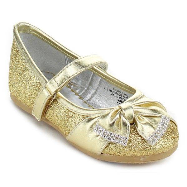 Little Angel TESHI-729D Toddler Girls' Glittering Middle Strap Dress Shoes