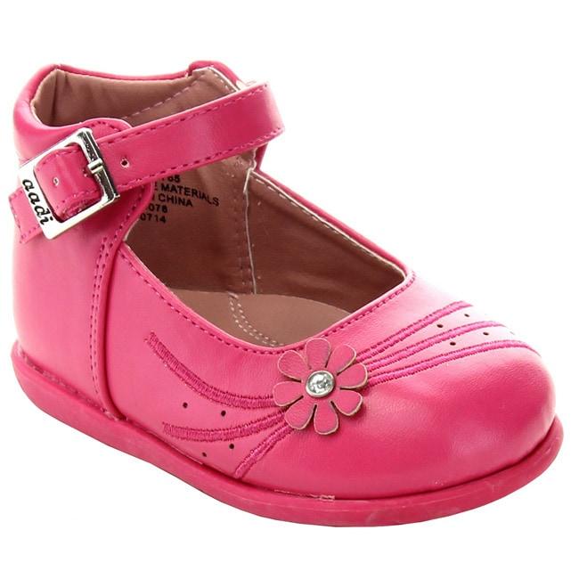 Overstock.com ADDI EMMA-765 Children Girl's Ankle Strap Round Toe Flower Tassel Flats