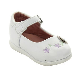 Addy Infant Girls 'Aadi-27' Ivory and Purple Floral Detail Dress Shoes