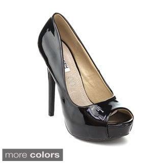 Kayleen Women's 'Sandy-1' Patent Peep-toe Pumps