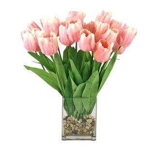 Pink Tulip Bouquet in River Rock Filled Square Glass Vase