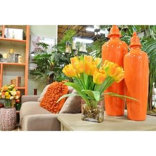 Orange Tulip Bouquet in River Rock Filled Squared Glass Vase
