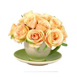 Handcrafted Peach Rose Bouquet in Ceramic Teacup Vase